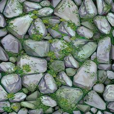 Vector seamless texture of stones in grey colors covered moss. Texture Mapping, 3d Texture, Game Textures, Textures Patterns, Wallpaper Roll, Wall Wallpaper, Stone Texture Wall, Dungeon Tiles, Hand Painted Textures