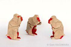 三猿 / Three Wise Monkeys by Gen Hagiwara Origami Paper Art, Paper Crafts, Origami Monkey, Three Wise Monkeys, Year Of The Monkey, Origami Animals, Oragami, Paper Models, Paper Mache