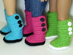 "Ravelry: Mini Sweater Boots - 18"" American Girl Doll Shoes by Yay For Yarn Patterns"