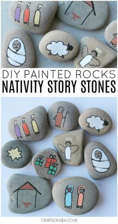 Love painted rocks? These nativity stones are fantastic for telling the Christmas story with kids and they're an easy Christmas craft for kids or adults #christmas #paintedrocks #paintedstones #nativity #christmascrafts