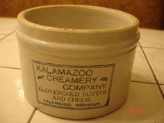 ANTIQUE VINTAGE YELLOW WARE STONEWARE BUTTER CROCK KALAMAZOO CREAMERY COMPANY