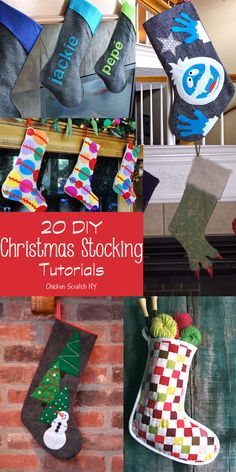 20 DIY Christmas Stocking Tutorials #DIY #stockings #Christmas repinned by www.stowedstuff.com