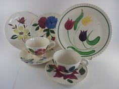 Blue Ridge China Dessert Set Assorted Patterns Southern Potteries Tea Set of 7 by acornabbey on Etsy