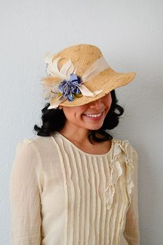 vintage 1920s inspired 70s straw cloche hat