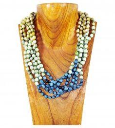 Soft yellow, green, turquoise motswadichabe 6 twisted string necklace