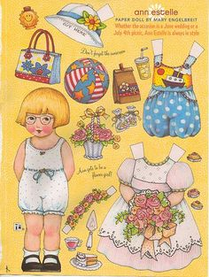 """""""Ann Estelle"""" Mary Engelbreit Paper Dolls, I bought a set of these at Michael's in their discount box for $1.50 CDN. They are so fun to cut out and give you lots of bits to use on cards."""