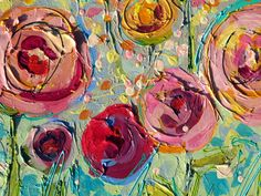 Mixed Media Canvas Art | ... textured painting using Liquitex modeling paste for the flower shapes