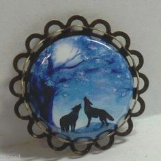 Howling Wolves Moon Silhouette Brooch Pin Unique Jewelry Button Antique Gold   #Handmade