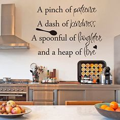 Inspirational Wall Sticker Quotes Words Art Removable Kitchen Dining Room Wall Decal Sticker Mural Vinyl Home Decor A Pinch of Patience,A Dash of Kindness...£¨Small,Black£© GECKOO http://smile.amazon.com/dp/B015E4HSE2/ref=cm_sw_r_pi_dp_wgNPwb01S417D