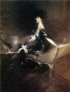 Consuelo, Duchess of Marlborough, with her son Ivor Charles Spencer-Churchill - Giovanni Boldini. Originally a portrait of the Duchess, it was enlarged to include the addition of her younger son Lord Ivor and hung in the dining room of her London residence, Sunderland House. Later it was gifted to the Metropolitan Museum. John Singer Sargent, Gilded Age, Giovanni Boldini, Italian Painters, Italian Artist, Marcel Proust, Edgar Degas, Charles Spencer, Exhibit