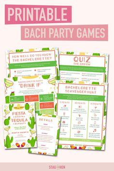It's not a bachelorette weekend without a few fun games to get the party started! We created four classic and fun fiesta-themed bachelorette party activities the entire bride squad will love. Choose from a Bachelorette Party Scavenger Hunt, Drink If Drinking Game, Groom Quiz, Bridal Trivia or purchase the bundle to save. Pair with matching Final Fiesta bachelorette party invitations, cups, coozies and shirts from our Final Fiesta Bachelorette Party Collection to complete the theme. Bachelorette Party Scavenger Hunt, Bachelorette Party Activities, Bachelorette Party Drinks, Bachelorette Party Invitations, Bachelorette Weekend, Party Games, Fun Games, Fiesta Games, Fiesta Theme Party