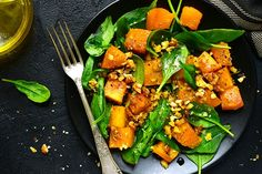 Spinach and Roasted Pumpkin Salad Dinner Recipes For Kids, Healthy Dinner Recipes, Kids Meals, Diet Recipes, Healthy Snacks, Vegetarian Recipes, Healthy Eating, Diet Tips, Whole30 Recipes