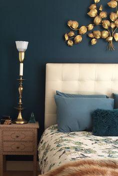 Navy bedroom, cozy bedroom, beautiful spaces