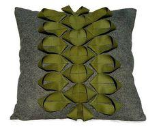 Recycled Felt Pillow Origami ScandiStem Applique by FeltloveCymru. $49.00 USD, via Etsy.