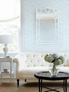 "At long last, I think this is it.  Thibaut    T35181 Pattern 	ALLISON Wallpaper Collection 	Graphic Resource Colorway 	Blue Construction 	Wallpaper Width 	27.00""(68.58 cm) Repeat V 	25.25""(64.14 cm) Match 	Drop Strippable Washable Unpasted Pretrimmed Priced by the single roll Area 	30.37 sq ft (2.82 sq m) Length 	4.50 yd (4.11 m) Weight 	0.78 lb (0.35 kg) Packaged in double rolls Area 	60.74 sq ft (5.64 sq m) Length 	9.00 yd (8.23 m) Weight 	1.55 lb (0.70 kg)"