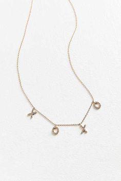 Rhinestone XOXO Charm Necklace
