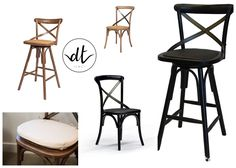 Crossback chairs and stools