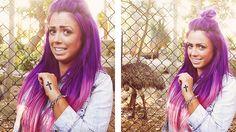 Holly Hagan, pink & purple.