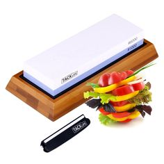 Premium Knife Sharpening Stone, Double-Sided Grits Whetstone, Knife Sharpener with Non-Slip Bamboo Base and Rubber Base, Angle Guide - High Qualified White Corundum Waterstone - Sharpening Stone, Knife Sharpening, Professional Knife Sharpener, Collectible Knives, Make Build, Best Pocket Knife, Knives And Swords, Grits, Kitchen Knives