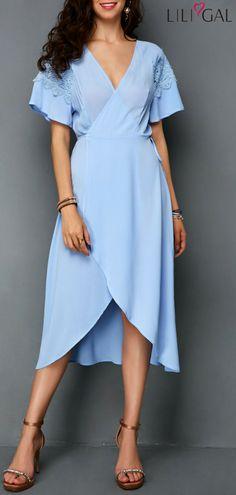 Wrap V Neck Lace Panel Chiffon Dress   #liligal #dresses #womenswear #womensfashion