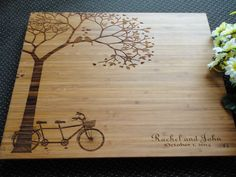 Personalized Cutting Board Tandem Bike Lasered Engraved Wedding Present…