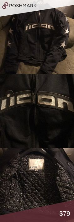 ICON Hooligan 54 Riding Jacket Good condition. Its dusty because I ride dual sport. Im a 35 bust and I can wear a layer under it and still be comfortable, but ive used it without the liner also and it doesnt sag. The liner is removeable. Has CE pads in elbows and shoulders. It really sparkles in the sun. Mesch outer.   ***moto, motorcycle, dirt bike, dual sport*** ICON Jackets & Coats