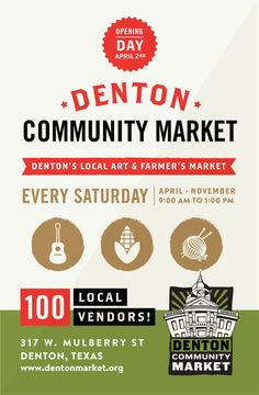 The Denton Community Market has become a regular Saturday ritual for many visitors and it continues to gain importance in the community and region. Opening day for the 8th year of the market is April 1, 2017!        Everything is locally produced and is sold by the makersthemselves. You can ask qu