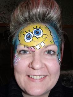 SpongeBob Birthday Party Face Paint and Makeup Ideas Face Painting For Boys, Face Painting Designs, Body Painting, Clown Face Paint, Face Paint Makeup, Spongebob Faces, Spongebob Cartoon, Belly Paint, Spongebob Birthday Party