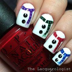 The Lacquerologist: Adorable Snowmen! Nail Design, Nail Art, Nail Salon, Irvine, Newport Beach