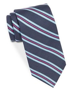 Brooks Brothers Silk Houndstooth-Striped Tie Men's Navy