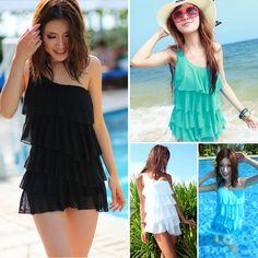 Free shipping Hot spring swimwear one oblique shoulder dress one-piece swimwear none layered dress plus size women swimwear