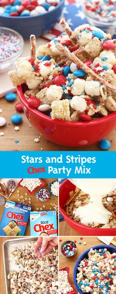 Have your guests in the of July spirit with Stars and Stripes Chex Party Mix! Made with festive colored sprinkles and Blueberry Chex, this recipe is a fantastic treat for you and all of your guests! Chex Mix Recipes, Snack Recipes, Dessert Recipes, Party Recipes, Appetizer Recipes, Just Desserts, Delicious Desserts, Yummy Food, Holiday Treats