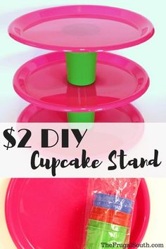 Easy Dollar Tree Cupcake Stand - The Frugal South Homemade Cupcake Stands, Diy Cupcake Stand, Cupcake Tree, Cupcake Display, Festa Party, Diy Party, Party Ideas, Luau Party, Neon Party