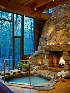 Funny pictures about Perfect Indoor Jacuzzi And Fireplace. Oh, and cool pics about Perfect Indoor Jacuzzi And Fireplace. Also, Perfect Indoor Jacuzzi And Fireplace photos. Future House, Fireplace Pictures, Sweet Home, Design Case, Dream Rooms, Dream Bathrooms, Luxury Bathrooms, Luxury Bathtub, Rustic Bathrooms