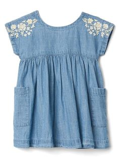 Floral embroidery chambray dress