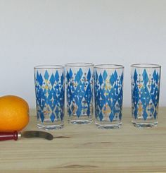 vintage  Blue Atomic  drinking glasses  bar ware  by TheWillies, $14.50