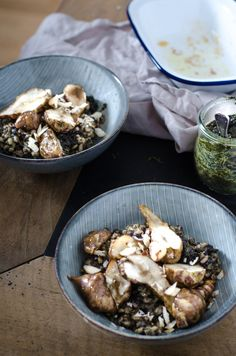 Pearl Barley Risotto with baked Jerusalem artichokes and pesto.