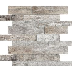 Anatolia Tile Silver Ash Linear Mosaic Travertine Wall Tile (Common: 12-in x 12-in; Actual: 11.968-in x 12.008-in)