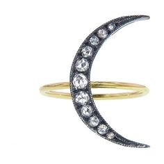Andrea Fohrman Medium Rose Cut Moon Ring ($1,925) ❤ liked on Polyvore featuring jewelry, rings, 18 karat gold ring, twist jewelry, rose cut ring, andrea fohrman jewelry and 18k jewelry
