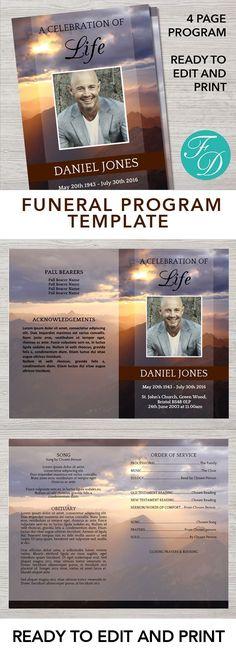 1289 Best Funeral Programs for Men | Obituary Templates