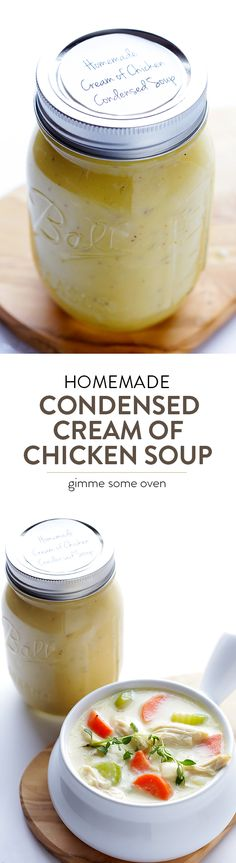 No more mystery processed canned stuff!  Homemade Condensed Cream of Chicken Soup is actually super-easy to make with everyday ingredients, and it works great with your favorite casseroles and recipes.   gimmesomeoven.com
