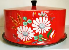 Red Floral VINTAGE Cake Plate with Cover. $24.95, via Etsy.