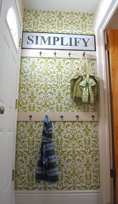 Temporary Wall Treatments for Renters: Use Wrapping Paper as Wallpaper Halls, Paper Wallpaper, Damask Wallpaper, Hallway Wallpaper, Small Hallways, Home Photo, Wall Treatments, My Living Room, Mudroom