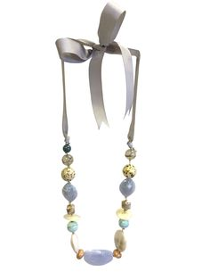 Caroline - the one button shop Button Necklace, Ribbon Necklace, Tassel Necklace, Acrylic Beads, Grosgrain Ribbon, Pastels, Blues, Spring Summer, Brooch