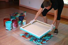 Cassandra Tondro pressing canvas into paint for abstract art Painting Process, Pour Painting, Cavas Painting, Diy Painting, Marble Painting, Contemporary Abstract Art, Diy Abstract Art, Modern Canvas Art, Art Club