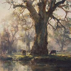 "Internationally Acclaimed Artist JOHN McCARTIN presents ""Kangarilla Mist (Study)"" oil on Belgian Linen x Watercolor Landscape, Landscape Art, Landscape Paintings, Watercolor Paintings, Australian Painting, Australian Artists, Wow Art, Tree Art, Beautiful Paintings"