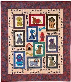 There are 10 whimsical appliqued mutts that adorn this quilt, along with a doghouse, fire hydrant, dog bones and paws to complete the look. All the dog lov