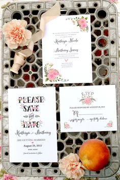 @weddingchicks free printable pink hand painted wedding stationery. Customize yours today here http://guide.weddingchicks.com/modul/print-1953-peach_flowers-l-15-l-17.html