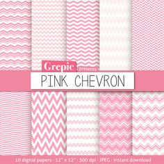 "Pink chevron digital paper: ""PINK CHEVRON"" with pink chevron digital papers for chevron scrapbooking, invites, cards - download here: http://etsy.me/11yE7Vn"
