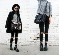 Sheinside Grey Long Sleeve Cable Knit Sweater, Women Lapel Woolen Pockets Long Sleeve Trench Coat Outwear, Zero Uv Popular Indie Block Cut Pattern Round Womens Sunglasses